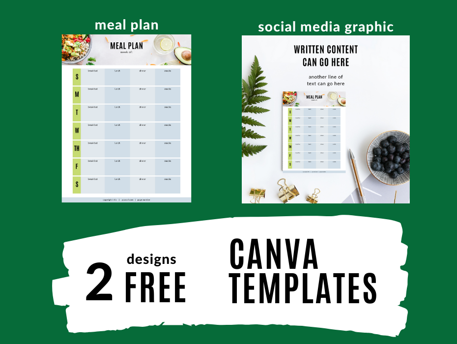 page image of meal plan template