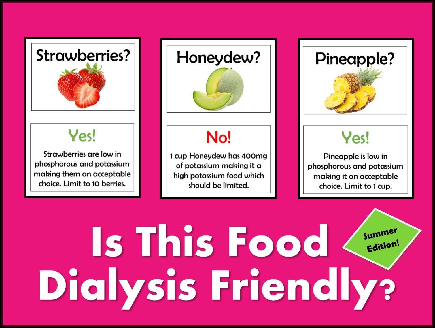 Is This Food Dialysis Friendly Bulletin Board – Summer