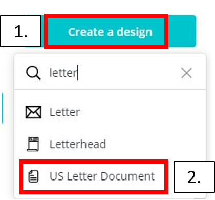 create a letter sized design in canva