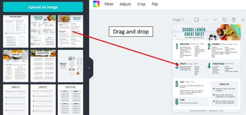 drag and drop page images to canva design canvas