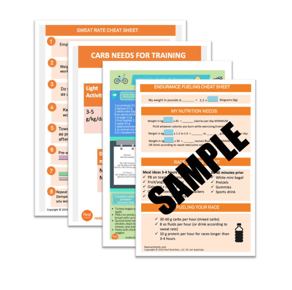 Sports Nutrition Cheat Sheet Pack