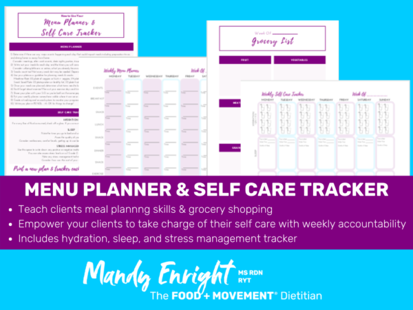 page preview of menu planner and self care tracker