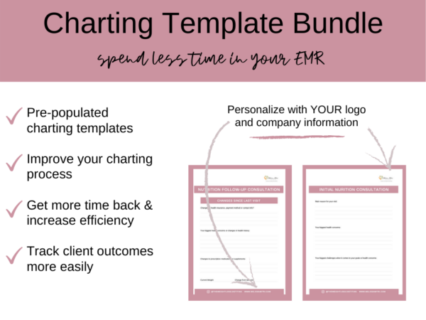 page preview of dietitian charting template