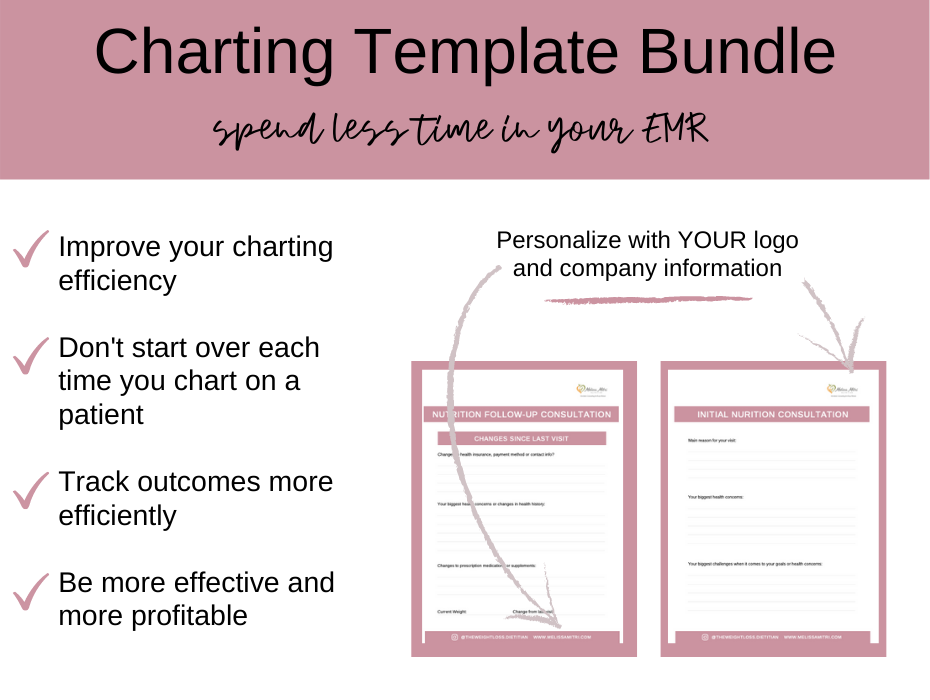 page preview images of charting templates for dietitians
