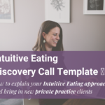 woman sitting at desk in office with intuitive eating discovery call template text overlay