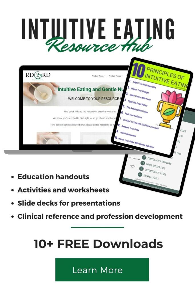 laptop and tablet with intuitive eating resources open