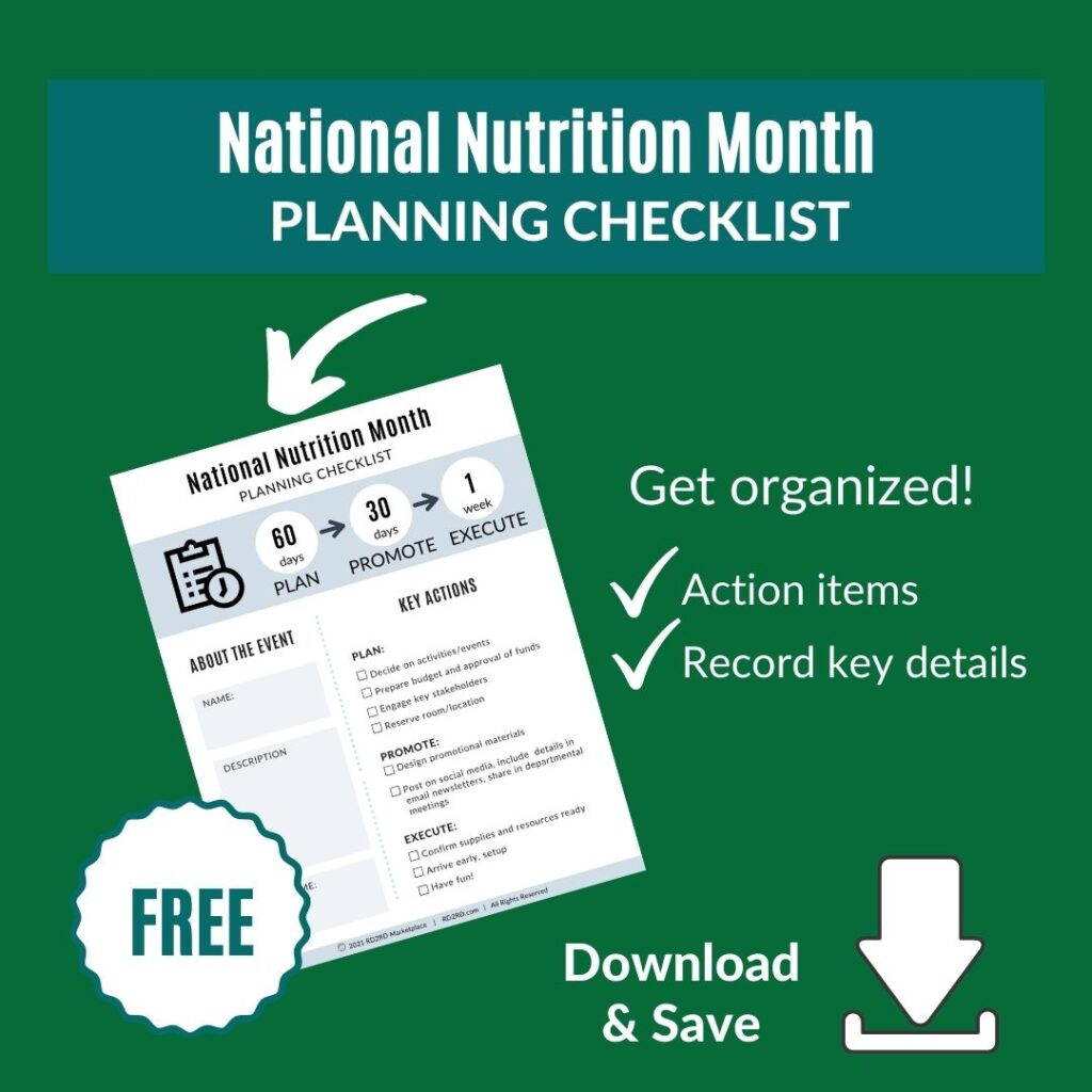 page preview of national nutrition month planning checklist
