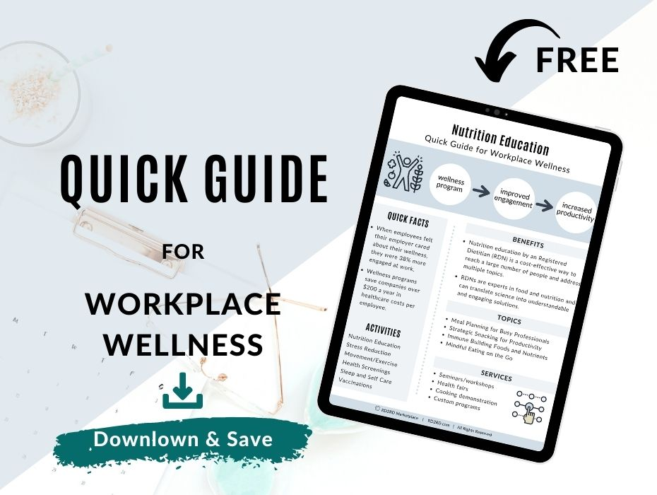 page preview of quick guide to nutrition education workplace wellness