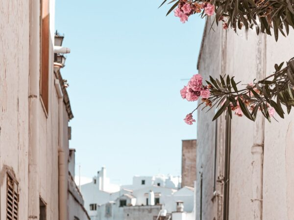 a picturesque view down an alleyway looking at whitewashed buildings under a clear blue sky