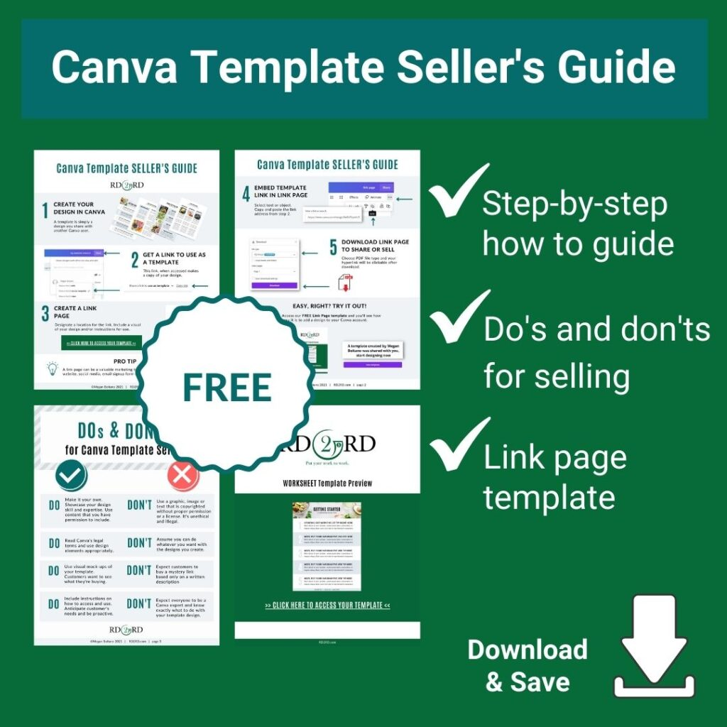 preview pages of canva template sellers guide