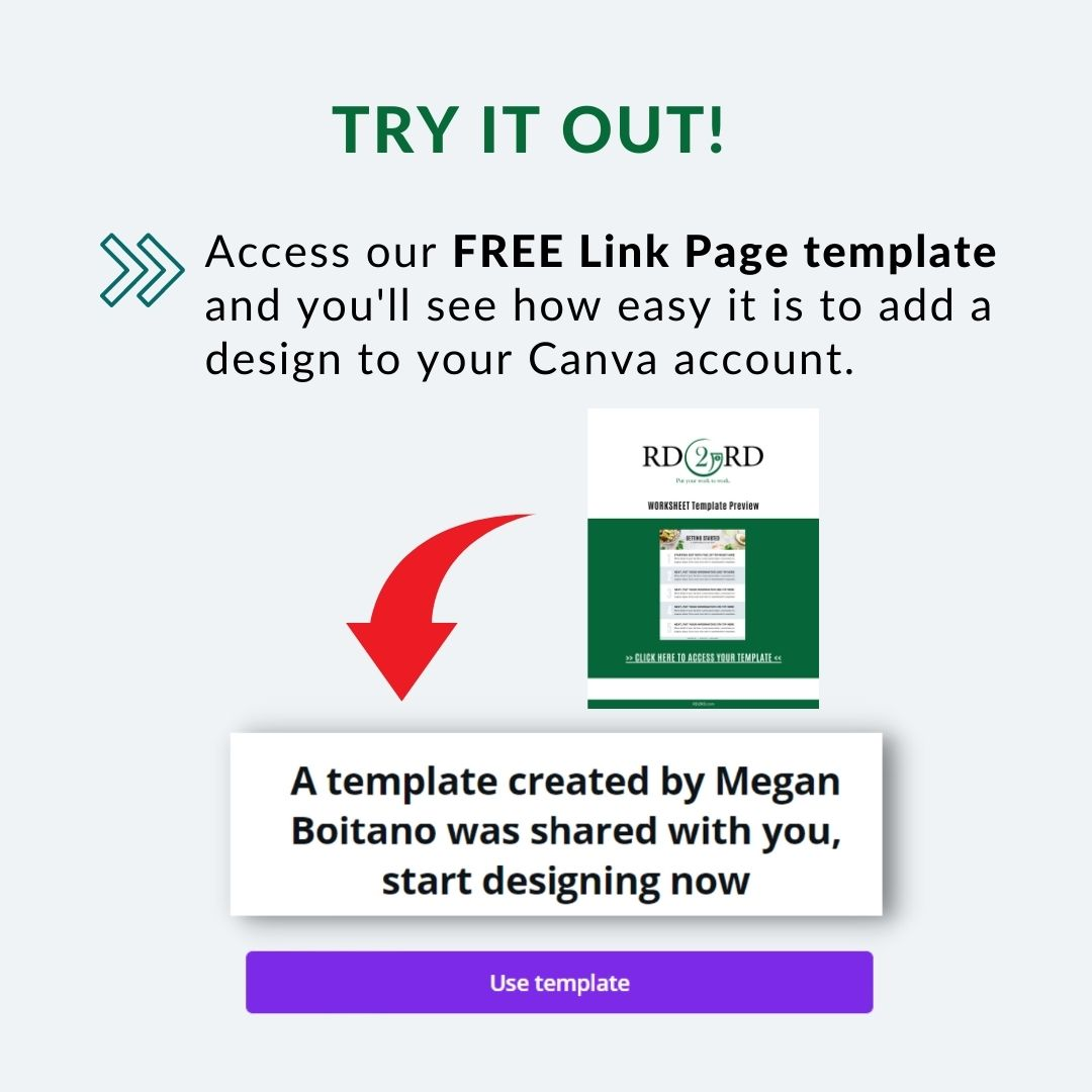 preview of template link page for canva template