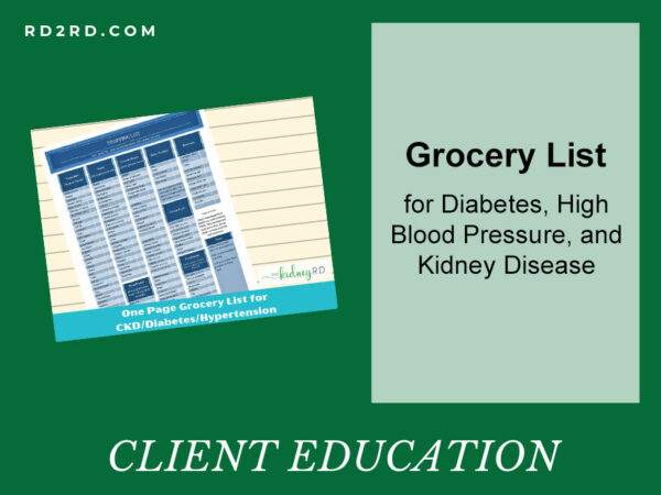 Grocery List for Diabetes, High Blood Pressure, and Kidney Disease