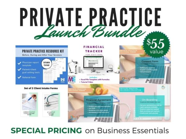 featured images of private practice start up bundle products