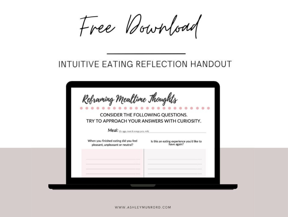 page image of reframing meals handout on laptop screen
