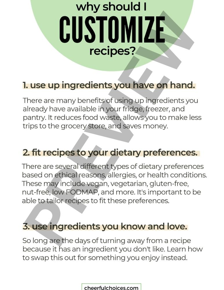 page preview from customizing recipes ebook