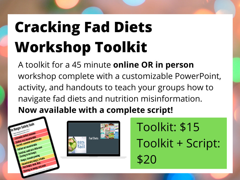 slide preview from cracking fad diets workshop