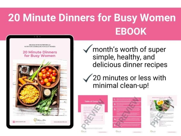 page previews from 20 minute dinners for busy women