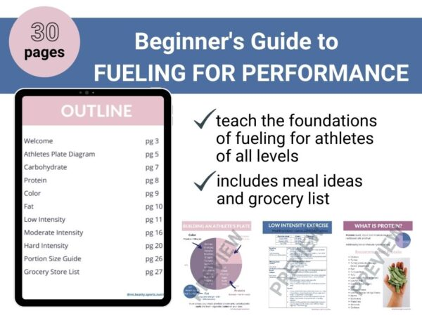 page previews of fueling for performance guide