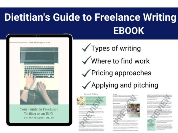 page preview of freelance writing for dietitian guide